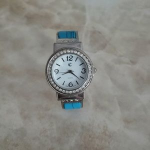 Silver watch with cubic zirconia and turquoise